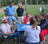 Guests playing cards in camp